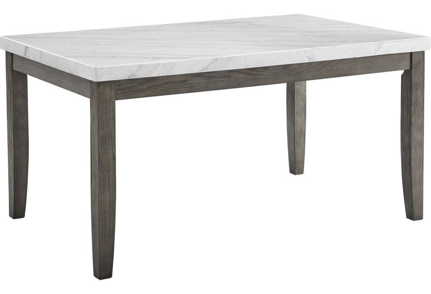 Belfort Essentials Emily Contemporary Guangxi White Marble Top Dining Table Belfort Furniture Dining Tables