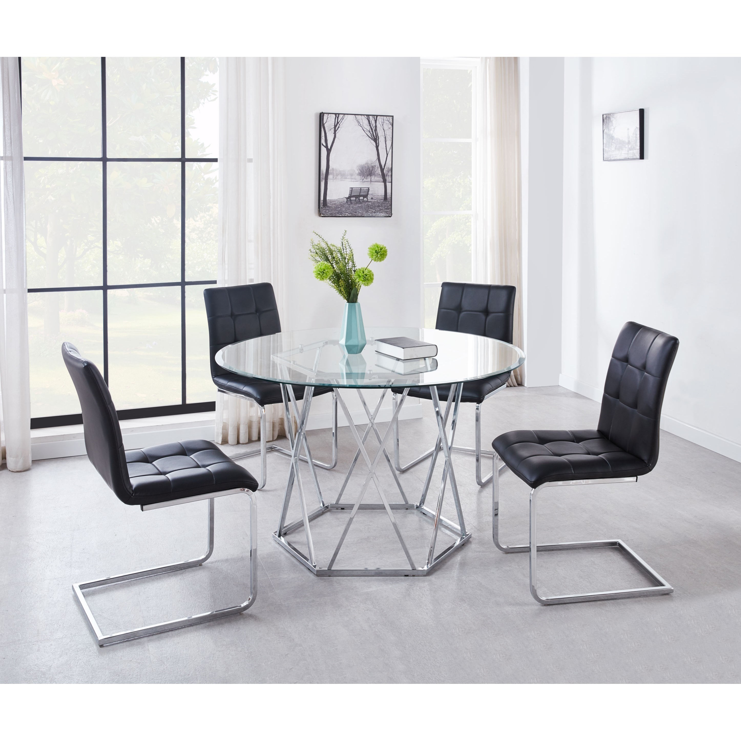 Picture of: 5pc Dining Table Set Modern Kitchen Room Furniture W 4 Chairs Black White Color