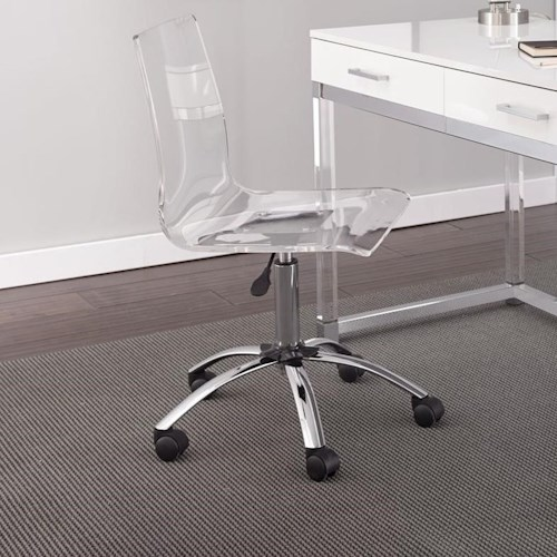 Steve Silver Everett Adjustable Height Acrylic Swivel Chair with Casters