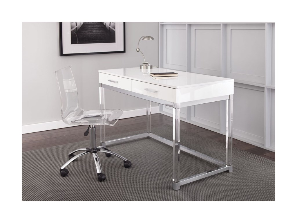 Everett Chrome And Acrylic Writing Desk Swivel Chair Set By Steve Silver
