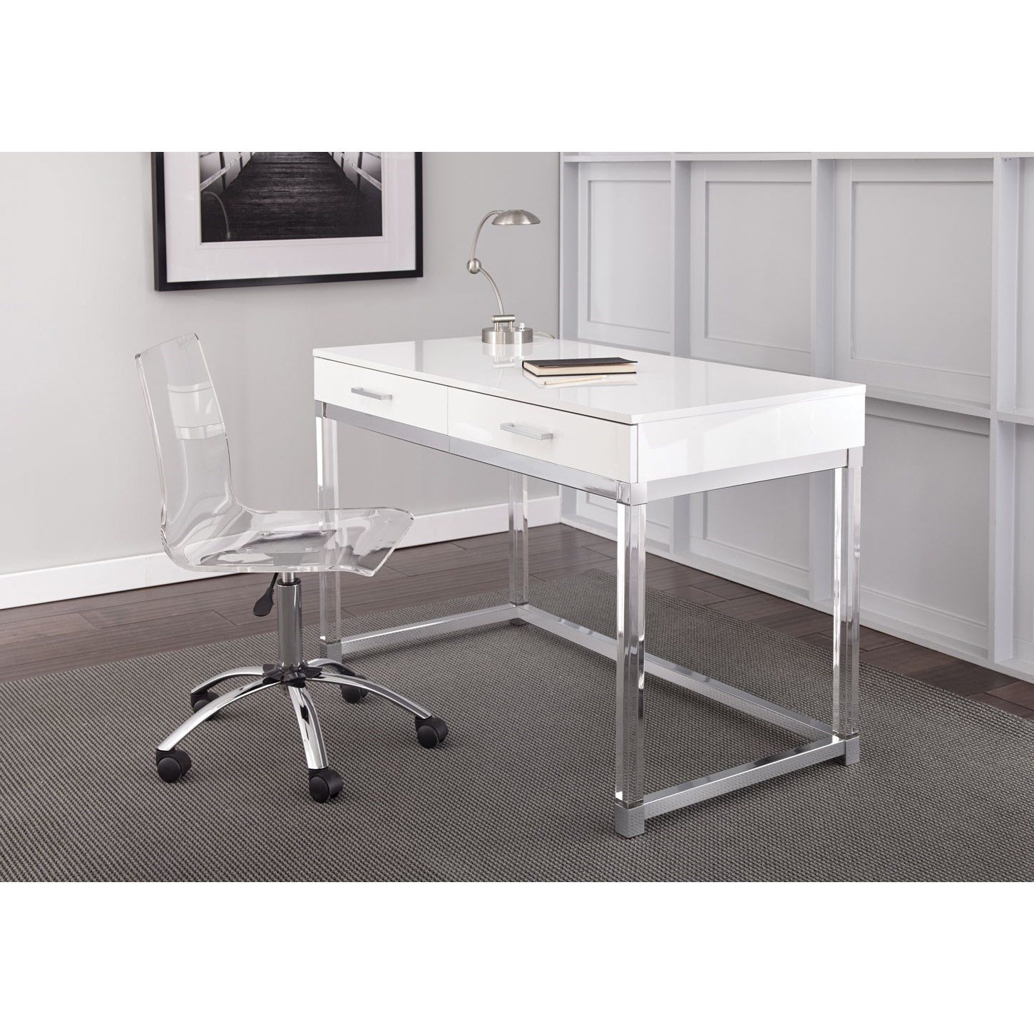 Steve Silver Everett Chrome And Acrylic Writing Desk And Swivel Chair Set