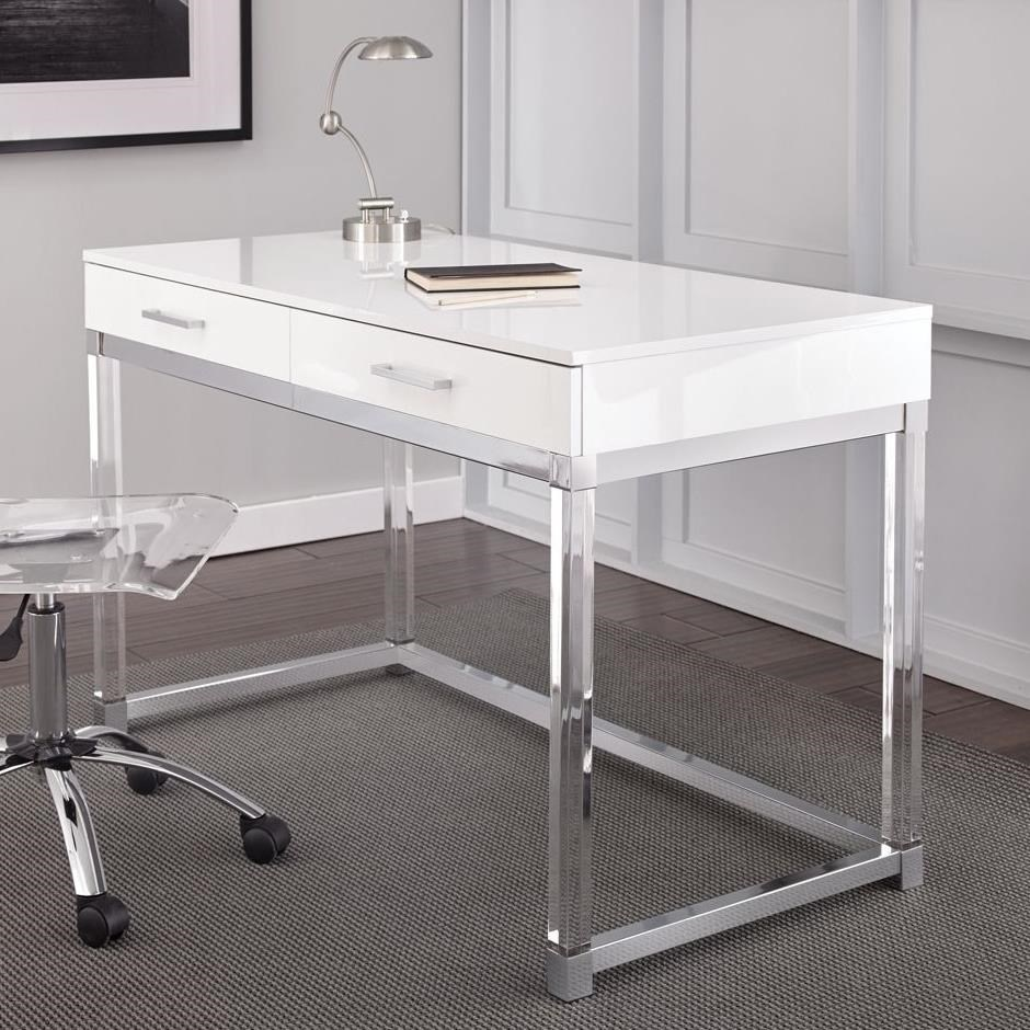 Steve Silver Everett Two Drawer Writing Desk With Acrylic Base Wayside Furniture Table Desks Writing Desks