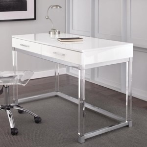 Steve Silver Everett Two Drawer Writing Desk With Acrylic Base Walker S Furniture Table Desks Writing Desks
