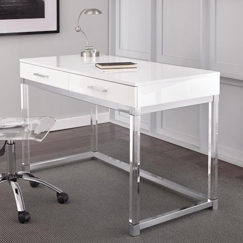 Steve Silver Everett Two Drawer Writing Desk with Acrylic Base