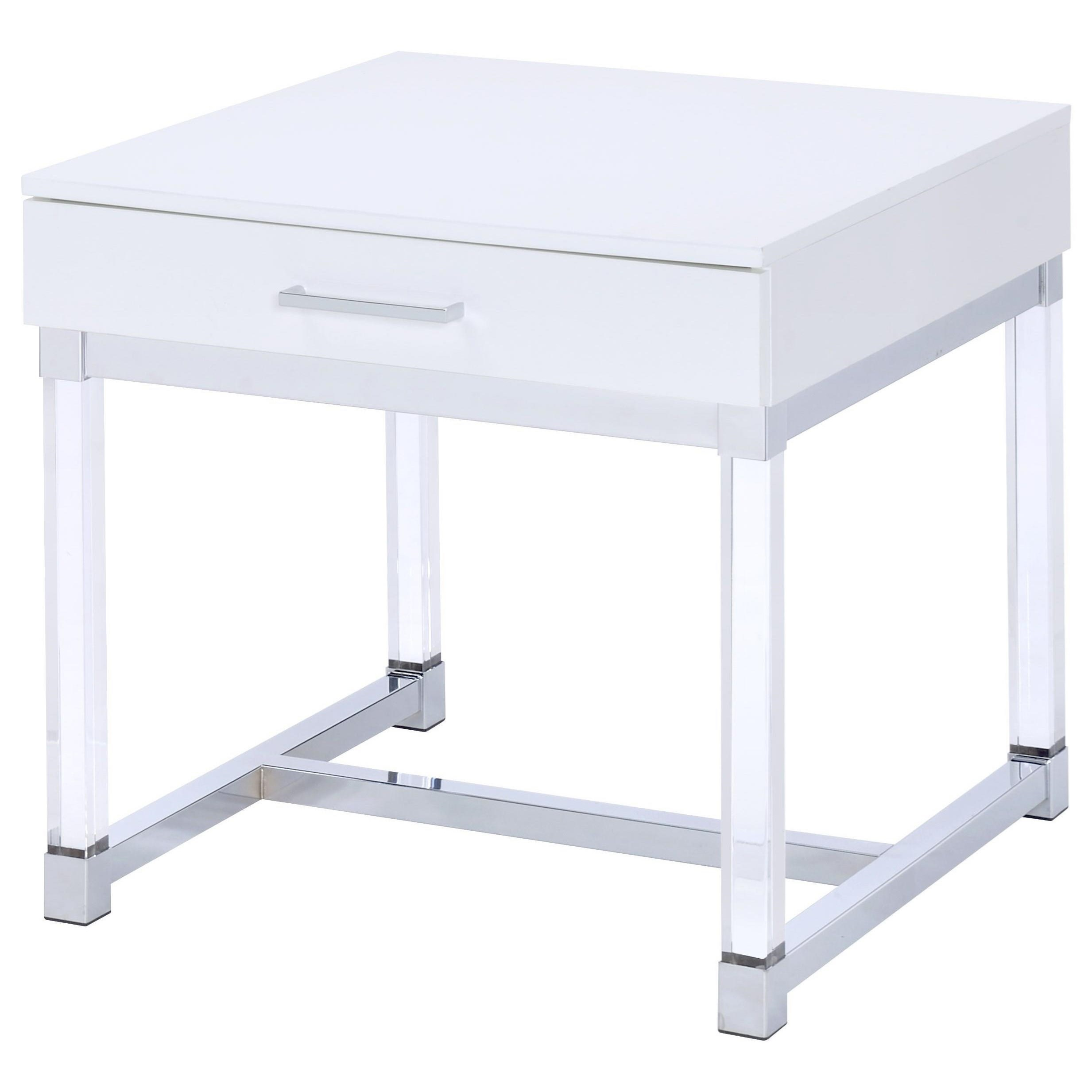 Steve Silver Everett 1 Drawer End Table With Acrylic Legs