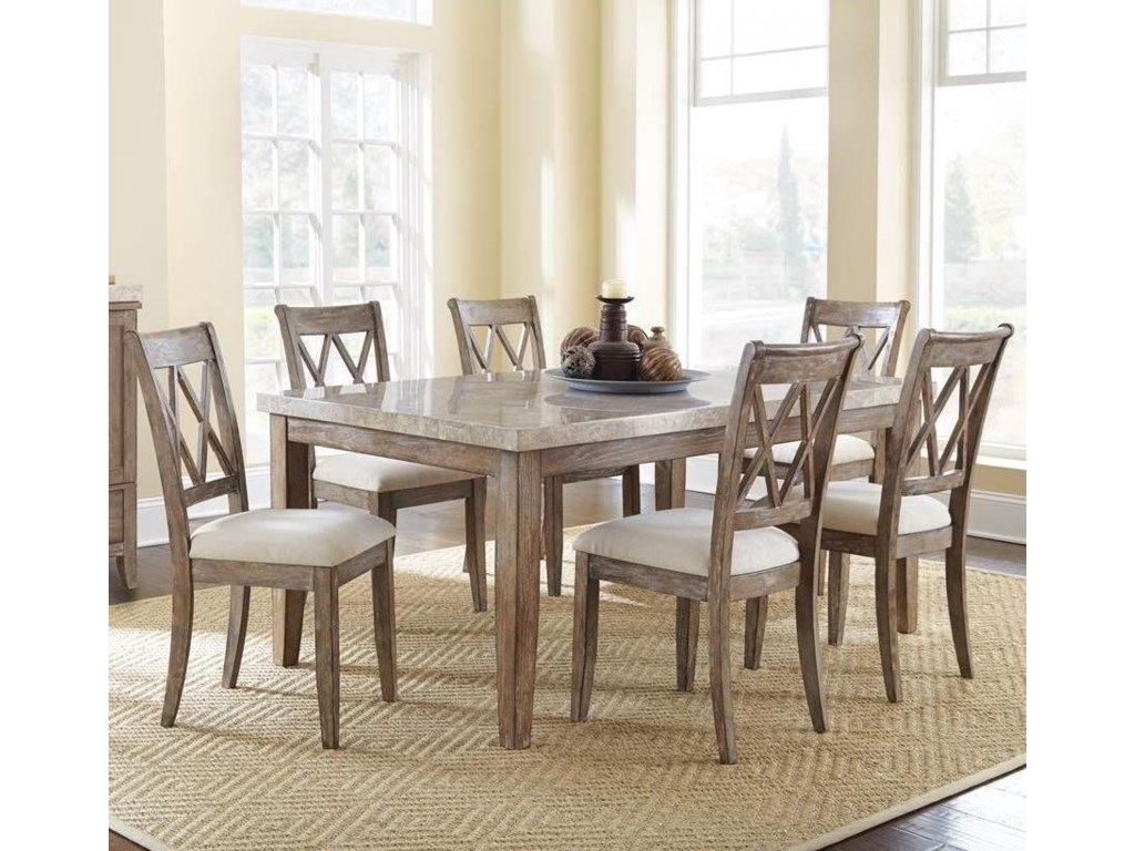 Franco 7 Piece Marble Top Dining Set