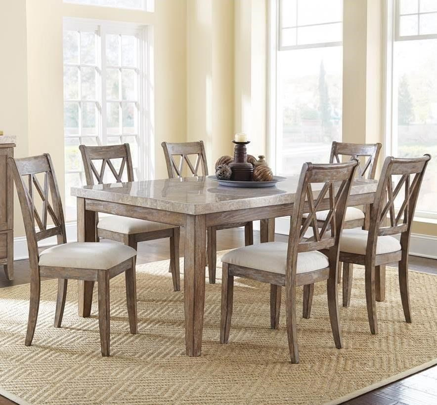 Superbe Steve Silver Franco 7 Piece Marble Top Dining Set