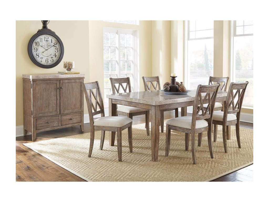 Steve Silver Franco7 Piece Marble Top Dining Set