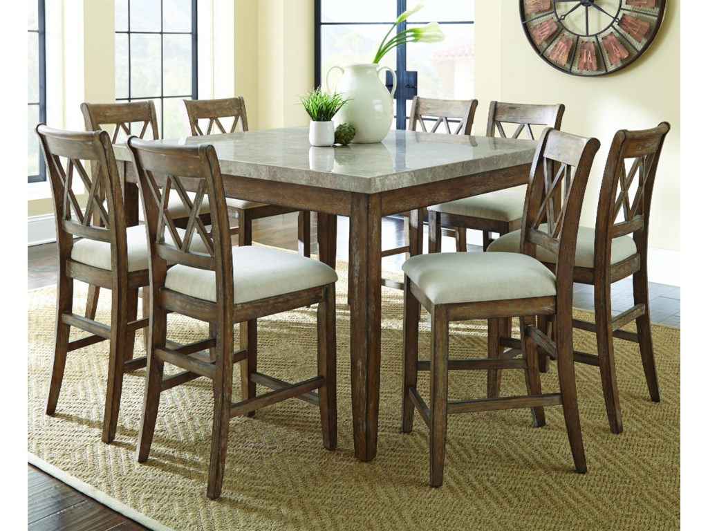 Steve Silver Franco9 Piece Marble Counter Height Dining Set