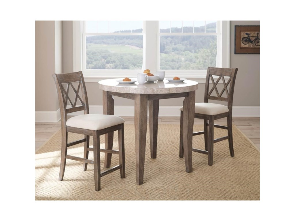 Steve Silver Franco3 Piece Marble Counter Height Dining Set