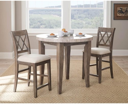 Steve Silver Franco 3 Piece Marble Counter Height Dining Set ...
