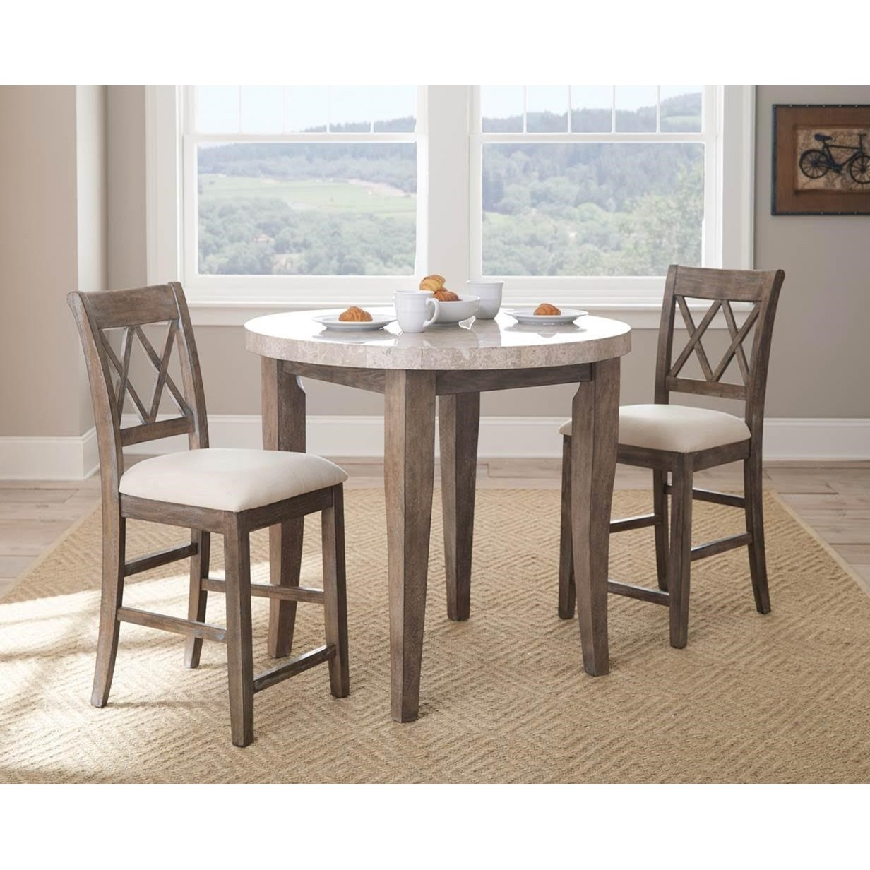 Steve Silver Franco 3 Piece Marble Counter Height Dining Set
