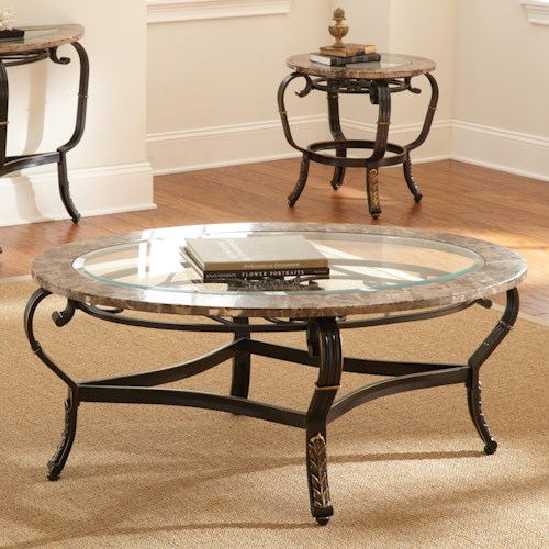 Steve Silver Gallinari Cocktail Table with Glass Top and Marble Border
