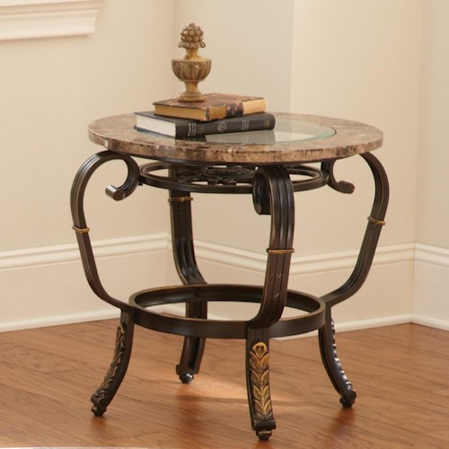 Steve Silver Gallinari Round End Table with Glass Top