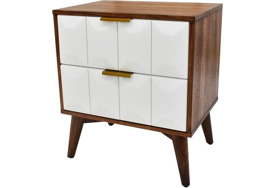 Steve Silver Ginny Gi900ns Mid Century Modern Nightstand With 2