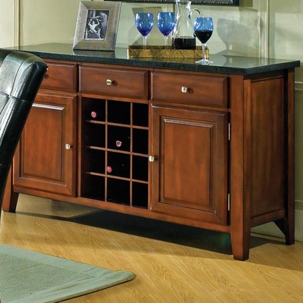 Granite Bello Granite Top 3-Drawer 2-Door Server with Wine Rack ...