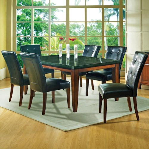 Steve Silver Granite Bello 7 Piece Contemporary Top Dining Table Parson Chair Set