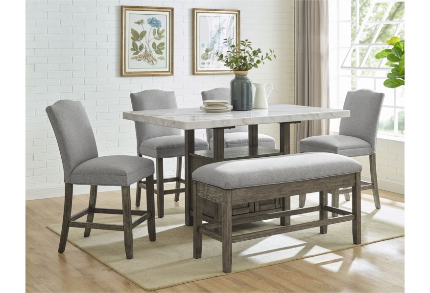 Vendor 3985 Grayson Gs640ctb Wmt 4xccg Cbg Counter Height Dining Set With Bench Becker Furniture Table Chair Set With Bench