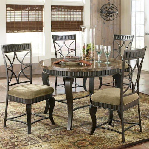 Steve Silver Hamlyn 5 Piece Round Faux Marble Top Metal Dining Table ...