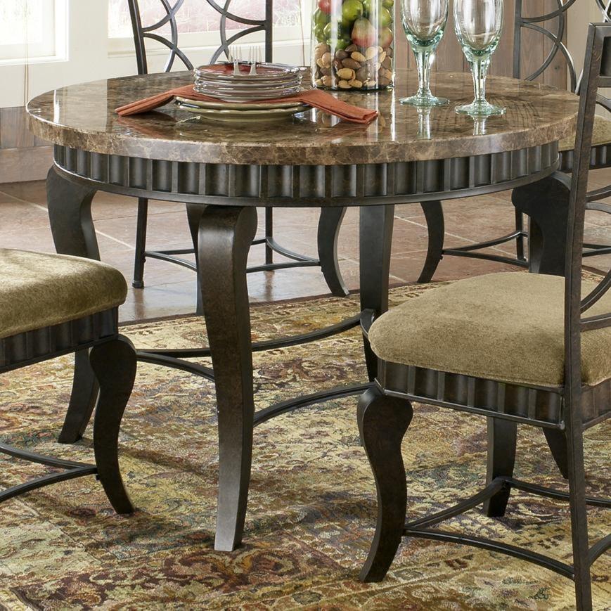 Steve Silver Hamlyn Round Faux Marble Top Metal Dining Table