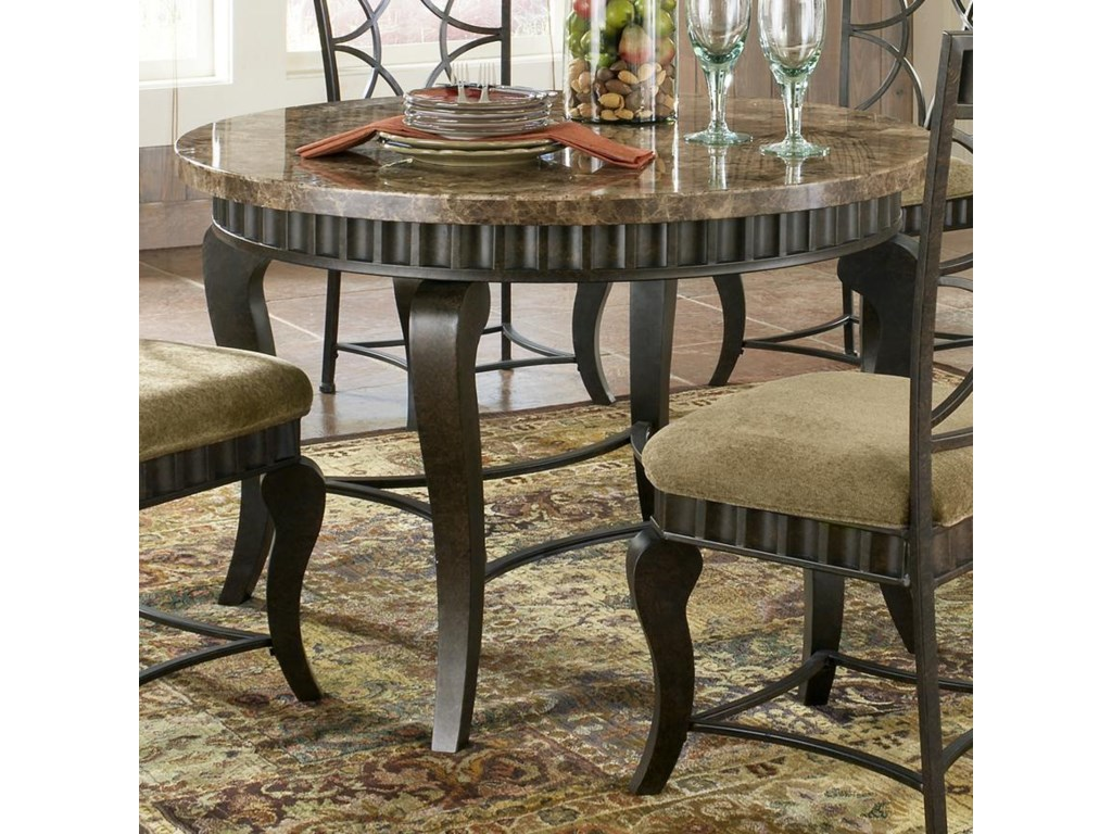 Steve Silver Hamlyn Round Faux Marble Top Metal Dining Table ...