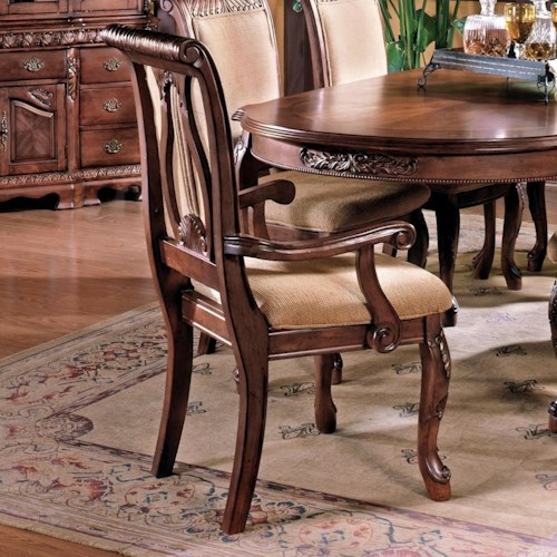 Steve Silver Harmony  Traditional Upholstered Seat Dining Arm Chair