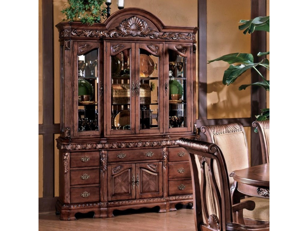 Steve Silver Harmony Traditional Carved Trim China Cabinet With