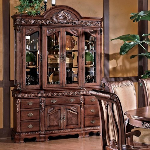 Steve Silver Harmony  Traditional Carved Trim China Cabinet with Storage