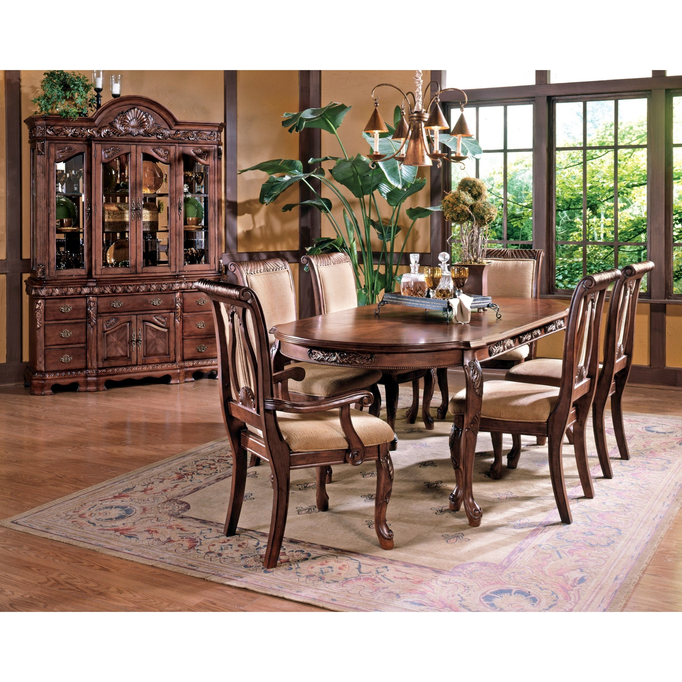 Steve Silver Harmony 7 Piece Traditional Oval Dining Table And Upholstered  Seat Dining Chair Set