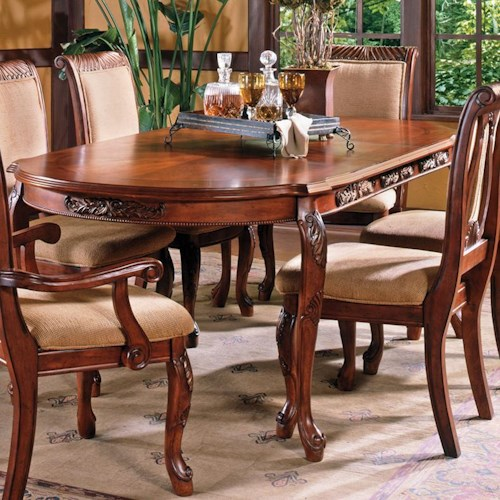 Steve Silver Harmony  Traditional Cabriole Leg Dining Table with 18