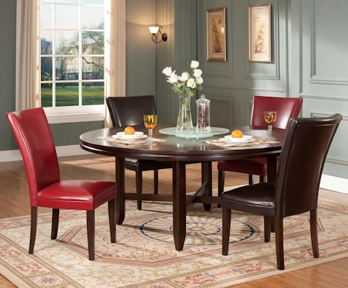 "Wayside Dining Room Furniture: Steve Silver Hartford 5-Piece Contemporary 72"" Round Table"