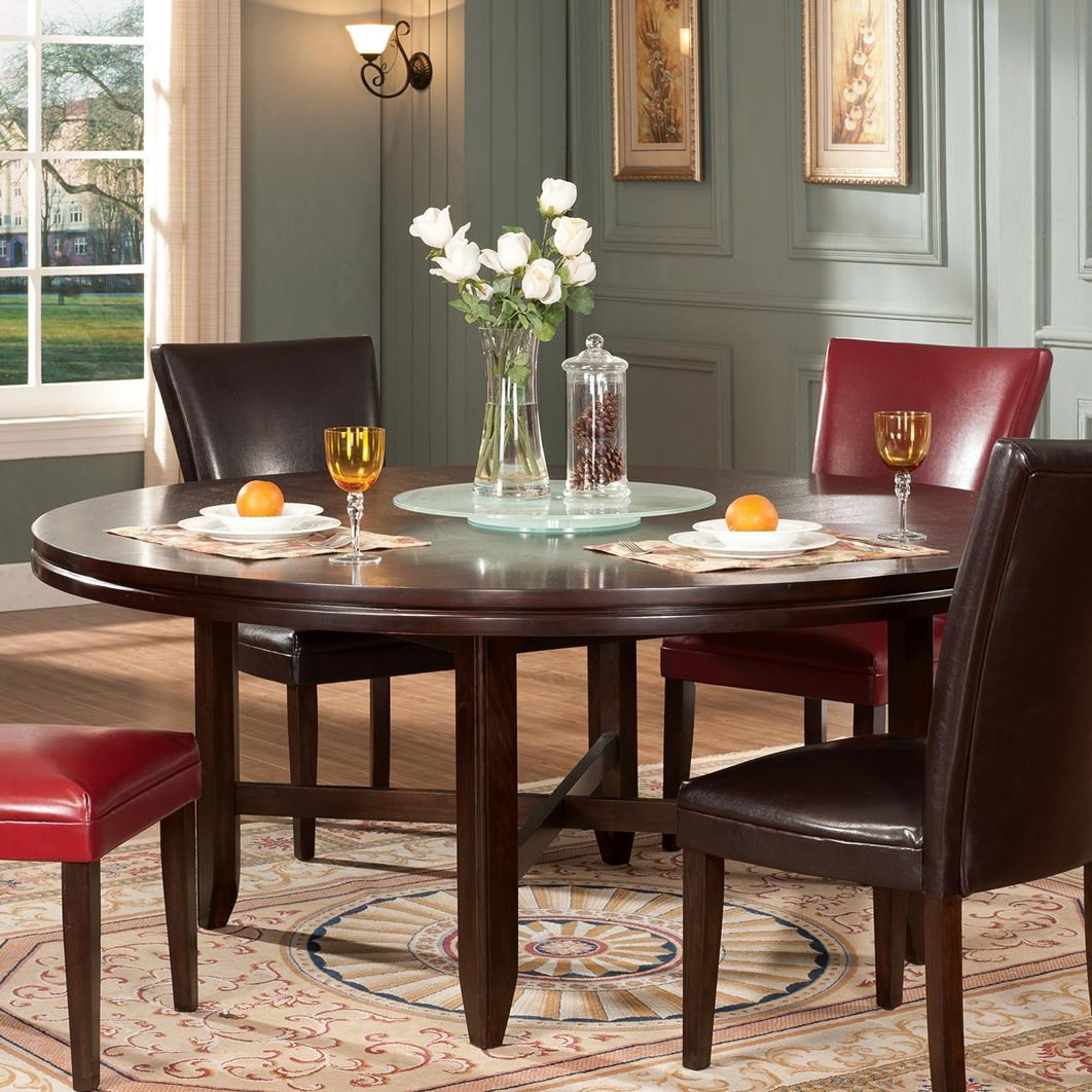 """72"""" Round Contemporary Dining Table with Lazy Susan"""