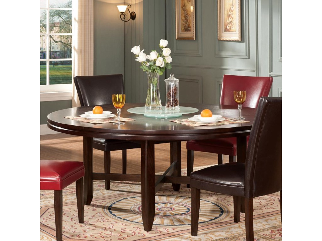 Steve Silver Hartford 72 Round Contemporary Dining Table With Lazy