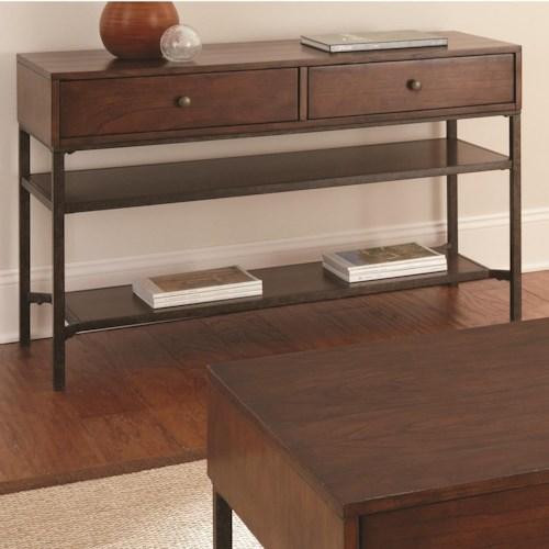 Steve Silver Hayden Sofa Table with Metal Shelf