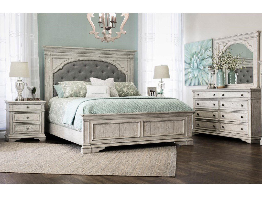 Steve Silver Highland ParkKing Bed, Dresser, Mirror, and Nightstand