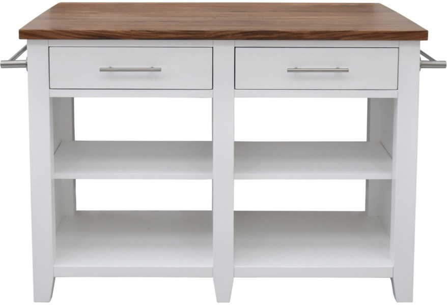 Hilton Transitional Kitchen Island with 2 Drawers and 2 Towel Rods by Star  at EFO Furniture Outlet