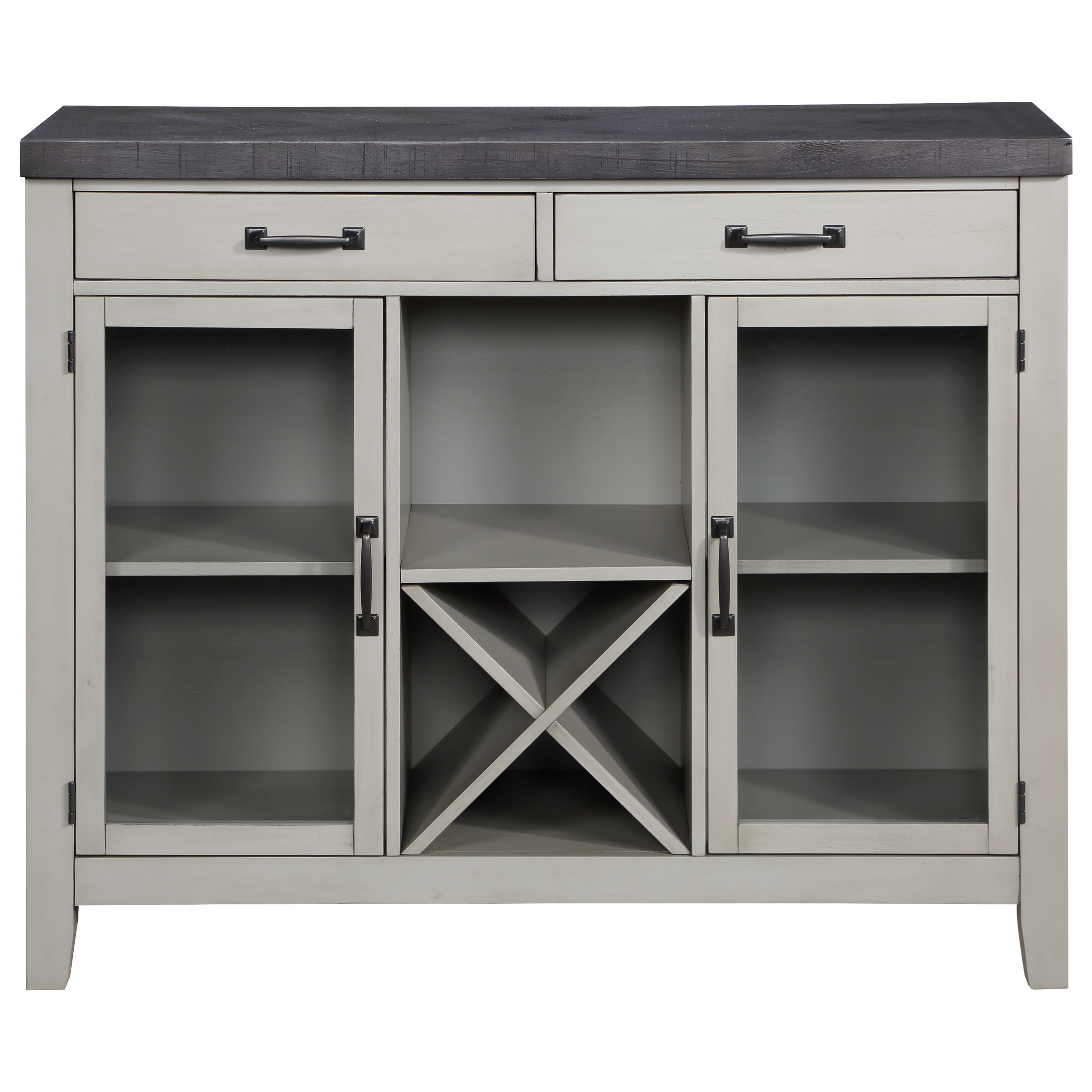 Two-Tone Server with Glass Doors and Removable Wine Rack