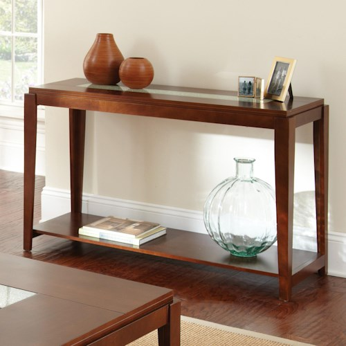 Steve Silver Ice Contemporary Sofa Table with Cracked Glass Insert