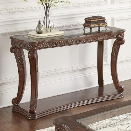 Steve Silver Innsbruck Sofa Table with Tempered Glass Top Insert