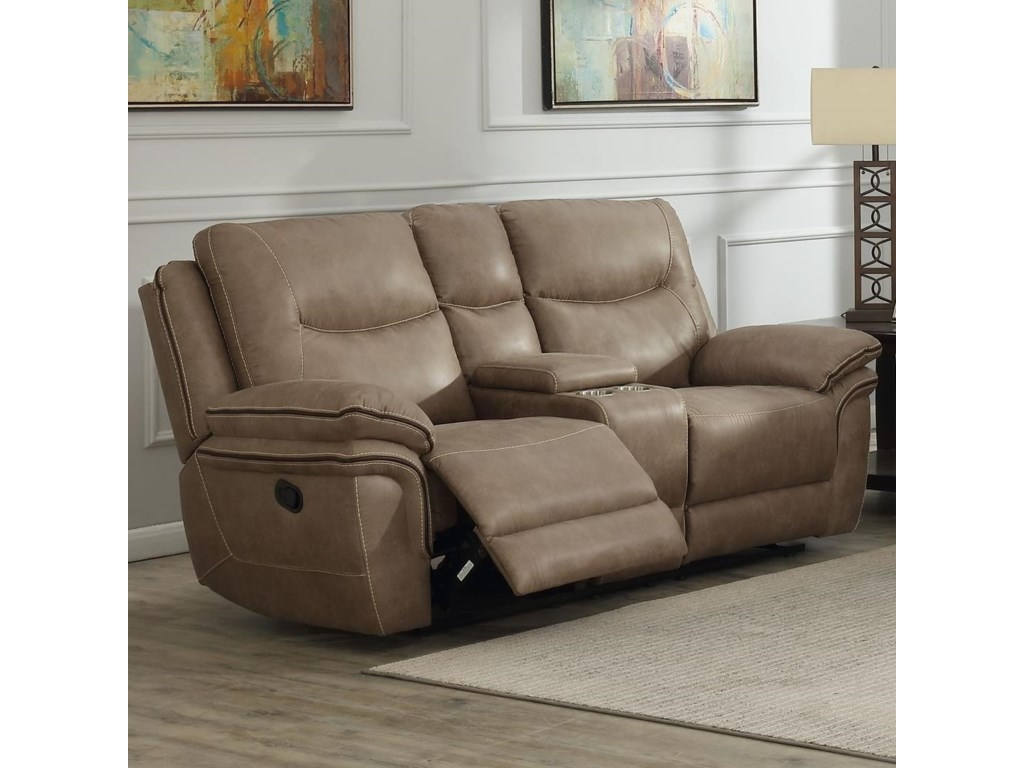 Isabella Casual Reclining Loveseat With Cupholder Storage Console