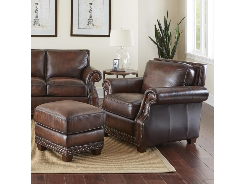 Jamestown traditional leather chair and ottoman with nailheads