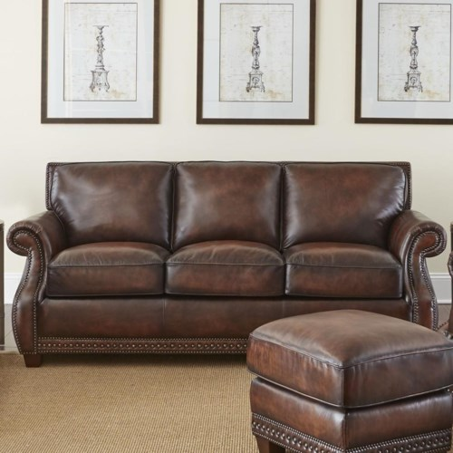 Steve Silver Jamestown Traditional Leather Sofa With Nailheads A1