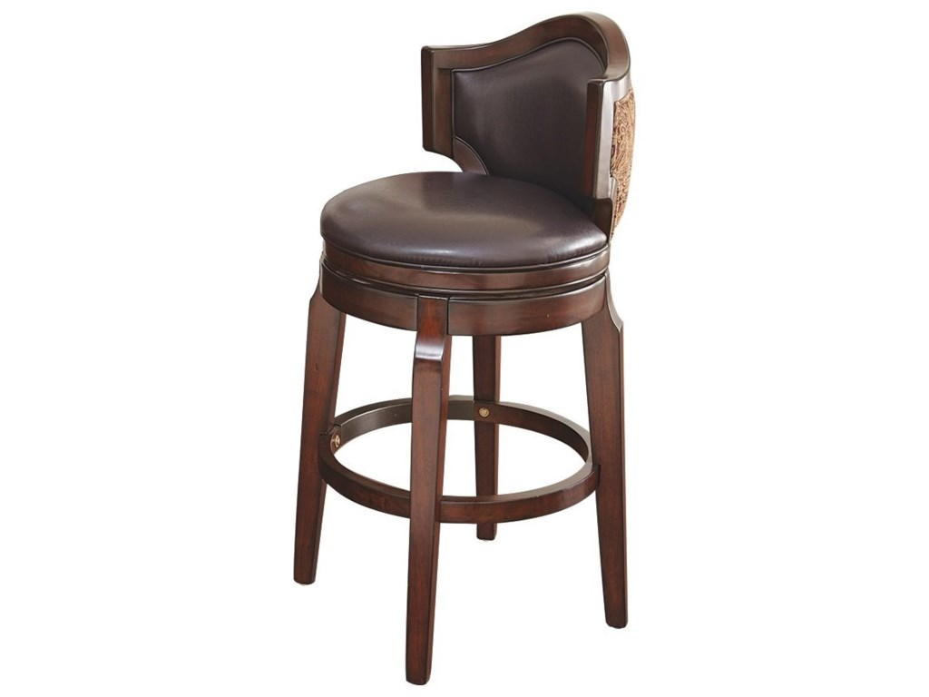Jasper Traditional Swivel Bar Chair With Upholstered Back Morris