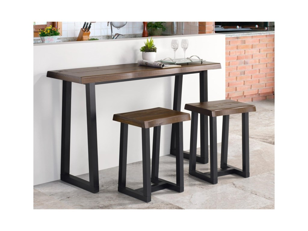 Steve Silver Jennings Rustic 3 Piece Counter Height Table Set With Bar Stools Wayside Furniture Pub Table And Stool Sets