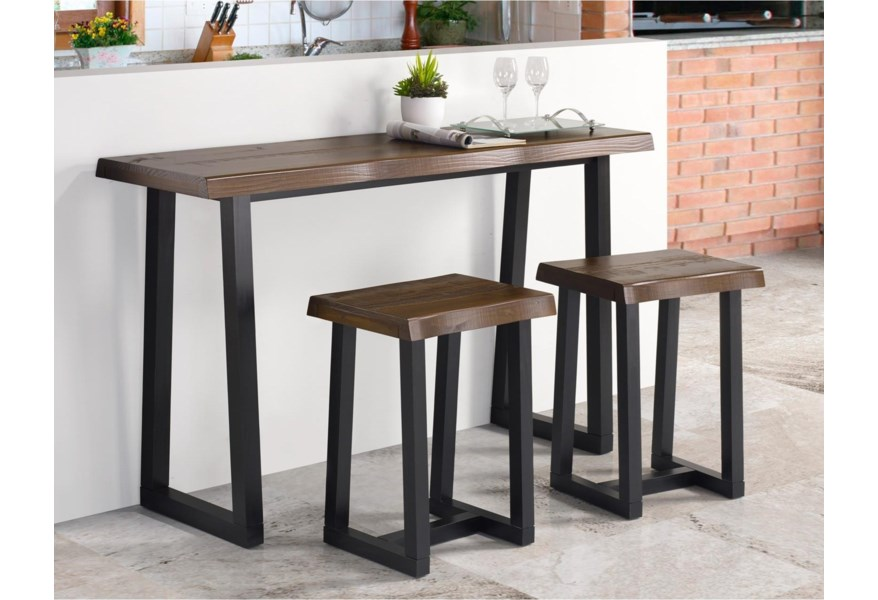Steve Silver Janine Rustic 3 Piece Counter Height Table Set With Bar Stools Morris Home Pub Table And Stool Sets