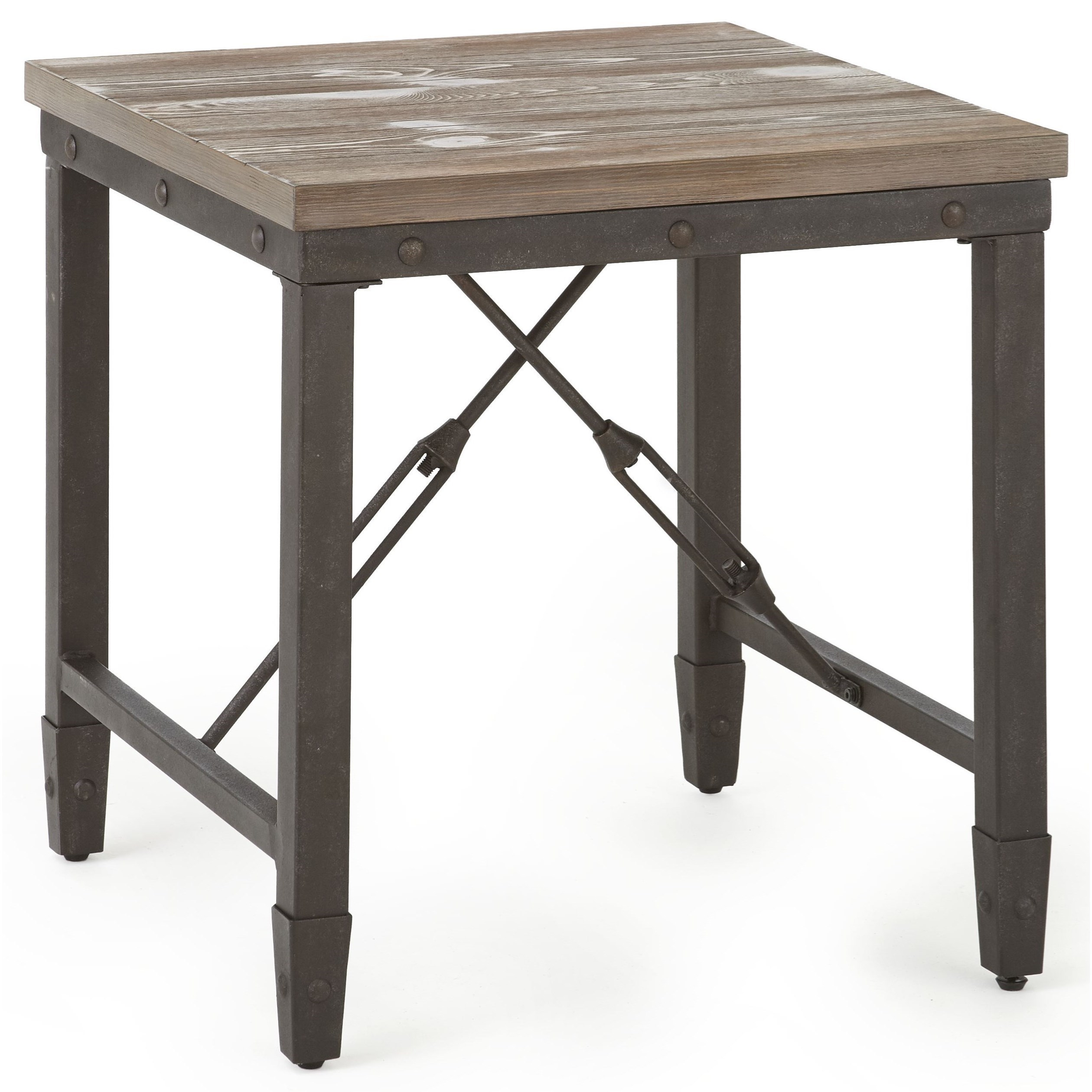 Industrial End Table with Iron Base