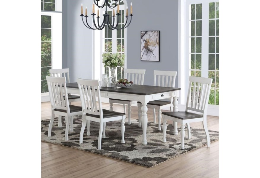 Prime Joanna Farmhouse Table And Seven Chair Set Prime Brothers Furniture Dining 7 Or More Piece Sets
