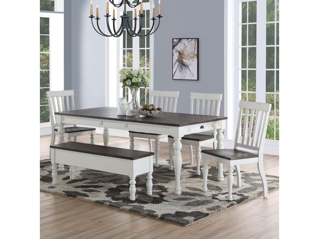 Steve Silver Joanna Farmhouse Dining Set With Bench Wayside Furniture Table Chair Set With Bench