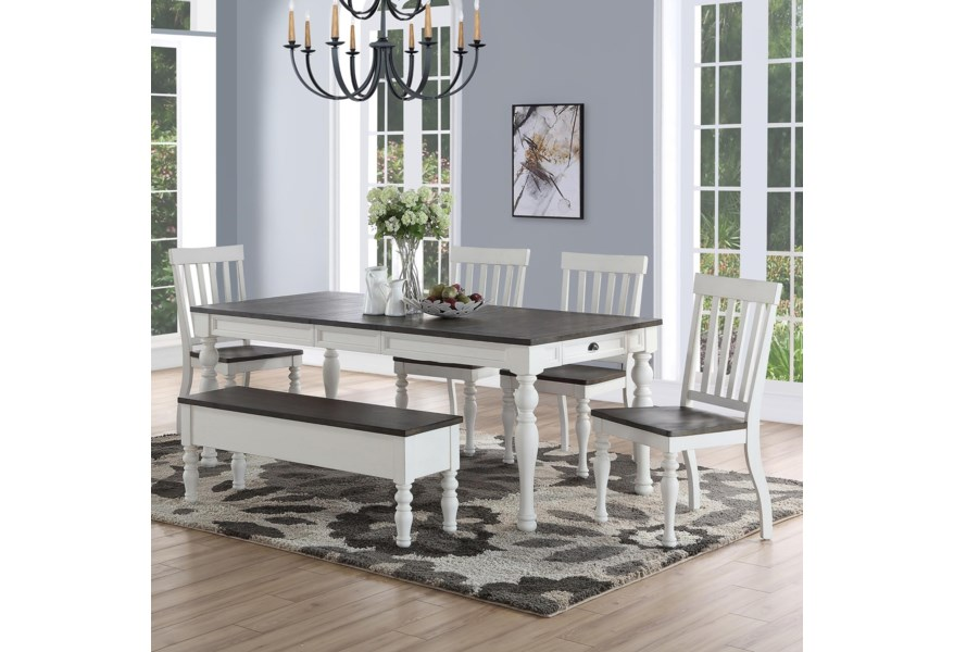 Steve Silver Joanna Ja500t Ja500bn 4xja500s Farmhouse Dining Set With Bench Northeast Factory Direct Table Chair Set With Bench