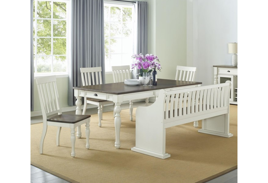 Star Petunia Farmhouse Dining Set With Bench With Back Efo Furniture Outlet Table Chair Set With Bench